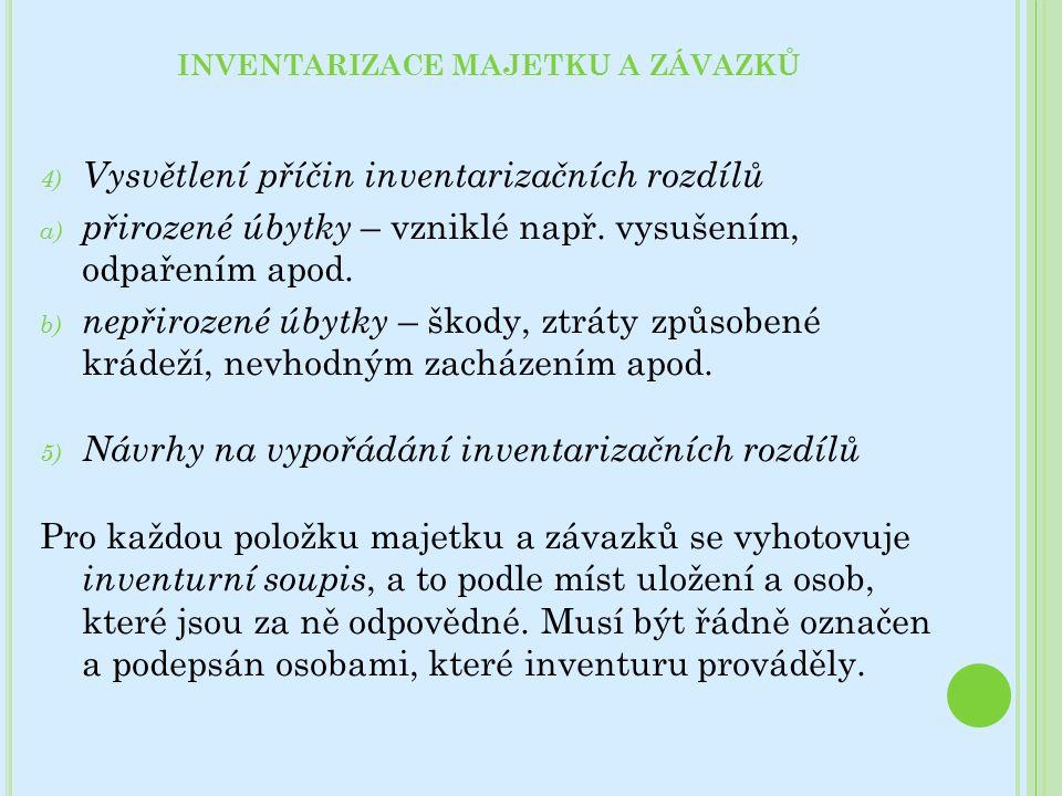 4) Vysvětlení příčin inventarizačních rozdílů a) přirozené úbytky – vzniklé např. vysušením, odpařením apod. b) nepřirozené úbytky – škody, ztráty způ