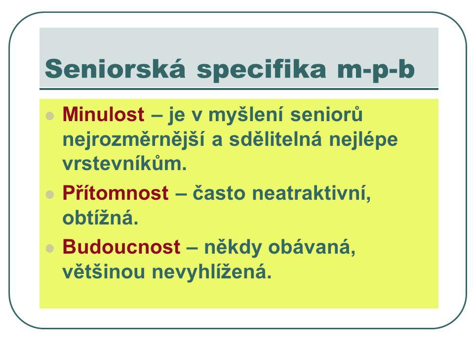 Seniorská specifika m-p-b Minulost – je v myšlení seniorů nejrozměrnější a sdělitelná nejlépe vrstevníkům.