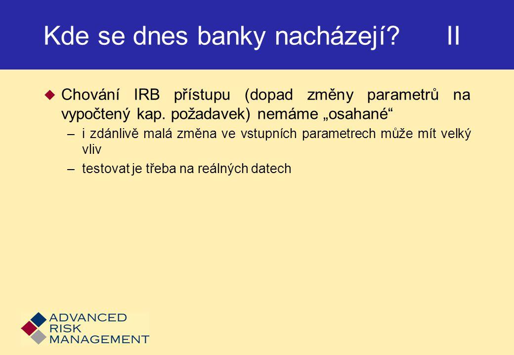 Kde se dnes banky nacházejí.II  Chování IRB přístupu (dopad změny parametrů na vypočtený kap.