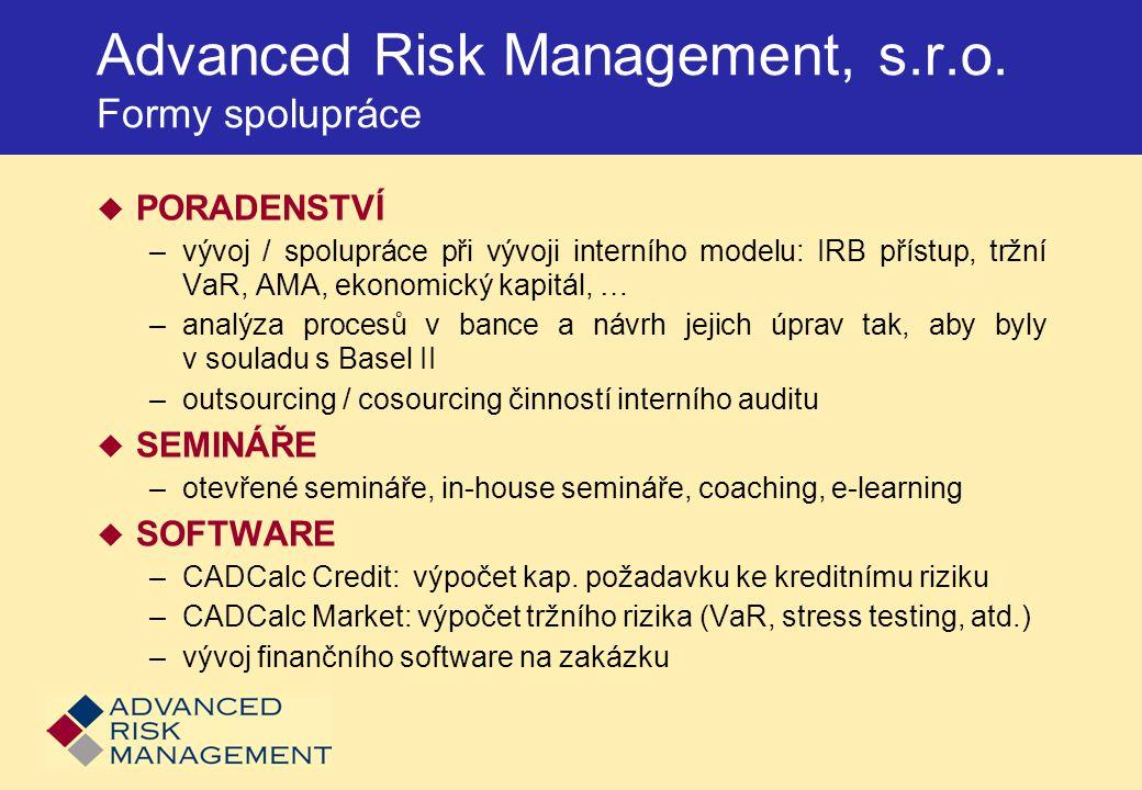 Závislost RW [v %EAD] na PD a LGD Korporátní riziková funkce PD 100% 80% 60% 40% 20% 0% S = 50 mil.