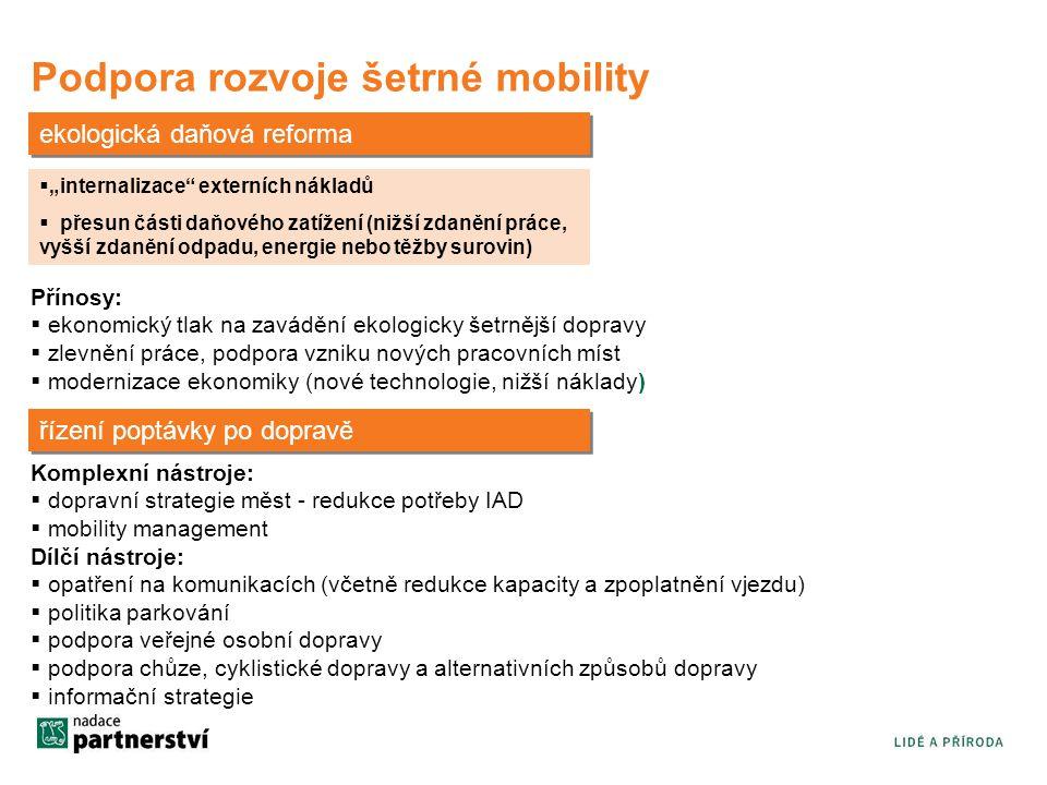 """Podpora rozvoje šetrné mobility ekologická daňová reforma  """"internalizace externích nákladů  přesun části daňového zatížení (nižší zdanění práce, vyšší zdanění odpadu, energie nebo těžby surovin) Přínosy:  ekonomický tlak na zavádění ekologicky šetrnější dopravy  zlevnění práce, podpora vzniku nových pracovních míst  modernizace ekonomiky (nové technologie, nižší náklady) řízení poptávky po dopravě Komplexní nástroje:  dopravní strategie měst - redukce potřeby IAD  mobility management Dílčí nástroje:  opatření na komunikacích (včetně redukce kapacity a zpoplatnění vjezdu)  politika parkování  podpora veřejné osobní dopravy  podpora chůze, cyklistické dopravy a alternativních způsobů dopravy  informační strategie"""