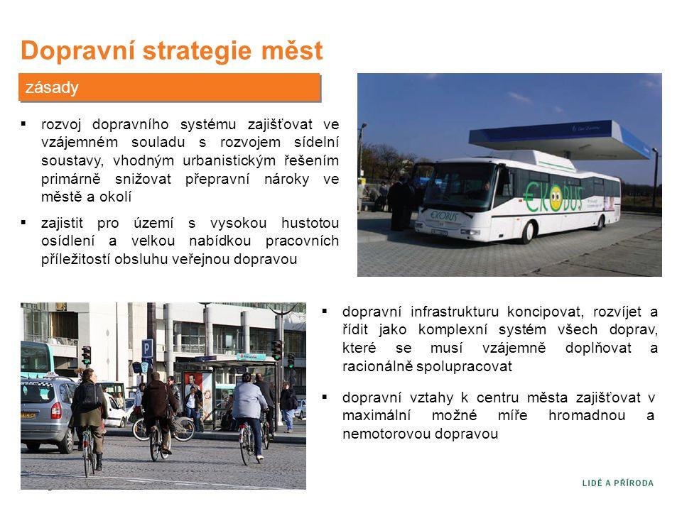 Dopravní strategie měst zásady  rozvoj dopravního systému zajišťovat ve vzájemném souladu s rozvojem sídelní soustavy, vhodným urbanistickým řešením