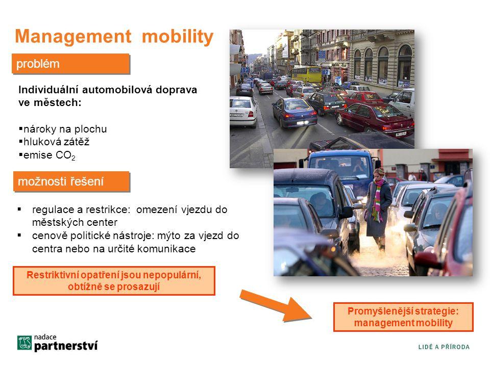 Management mobility možnosti řešení  regulace a restrikce: omezení vjezdu do městských center  cenově politické nástroje: mýto za vjezd do centra nebo na určité komunikace Individuální automobilová doprava ve městech:  nároky na plochu  hluková zátěž  emise CO 2 problém Restriktivní opatření jsou nepopulární, obtížně se prosazují Promyšlenější strategie: management mobility