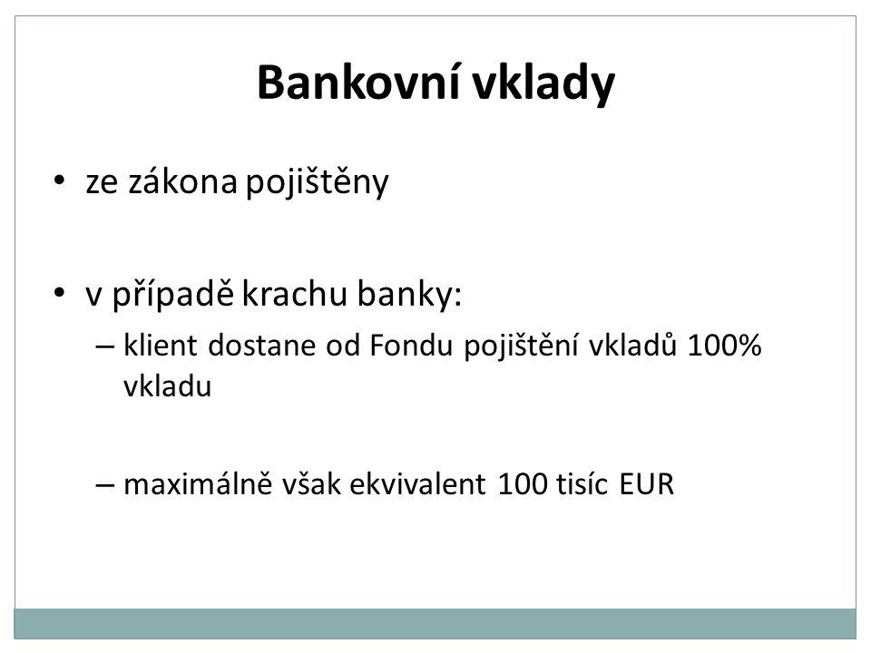 Bankovní vklady Vklady na běžných účtech – hlavní účel: provádění platebního styku – nízké úrokové sazby Vklady na spořících účtech – vyšší úrok než na běžných účtech – disponování s penězi omezeno – výpovědní lhůty