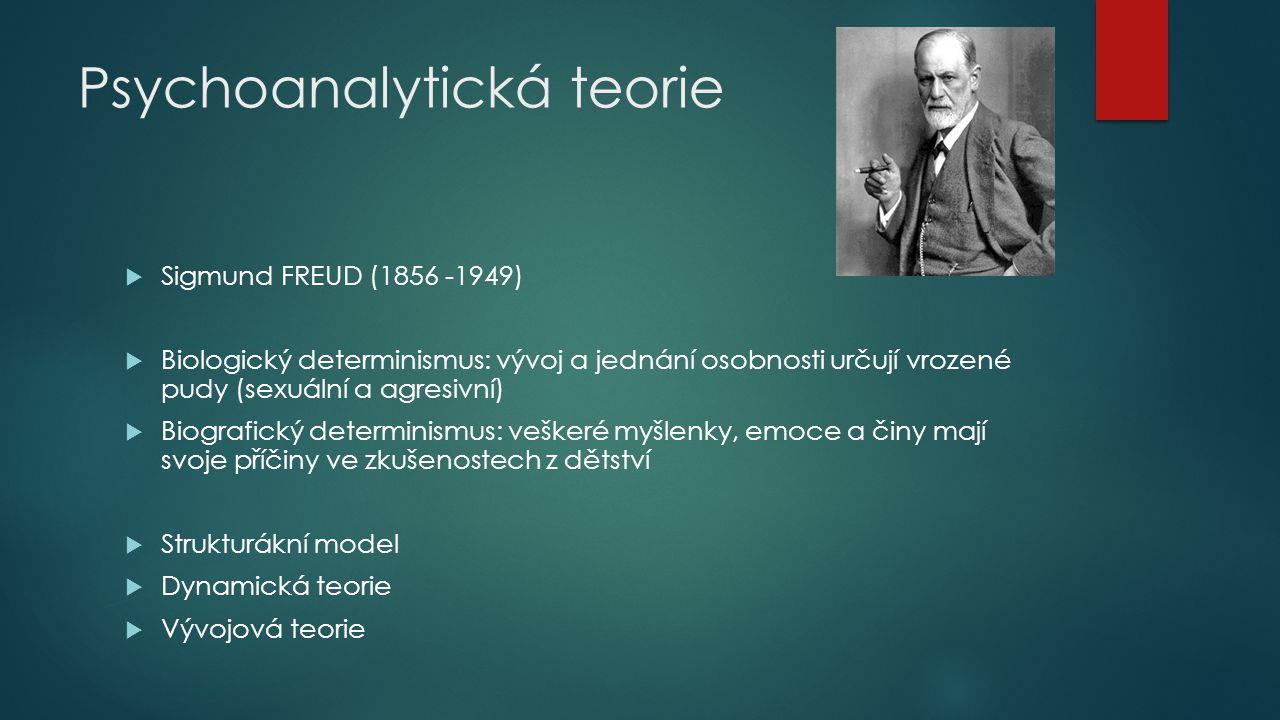 Freud - strukturální model osobnosti Id - nejprimitivnější část osobnosti  ze základních biologických impulsů (sexuální a agresivní pudy- nejdůležitější determinanty osobnosti) - hédonistický, iracionální a nemorální  princip slasti Ego - ústřední řídící složka osobnosti  zprostředkování mezi pudovými touhami Id a podmínkami vnějšího světa  zabezpečit přežití osoby a její reprodukce  principem skutečnosti Superego - zvnitřněna reprezentace hodnot a morálky společnosti,  svědomí jedince, obraz ideálně mravné osoby a sebehodnocení  principem dokonalosti