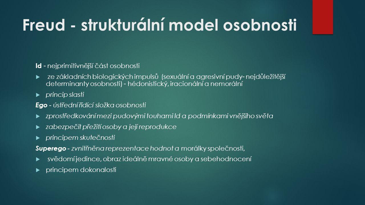 Freud - strukturální model osobnosti Id - nejprimitivnější část osobnosti  ze základních biologických impulsů (sexuální a agresivní pudy- nejdůležitě