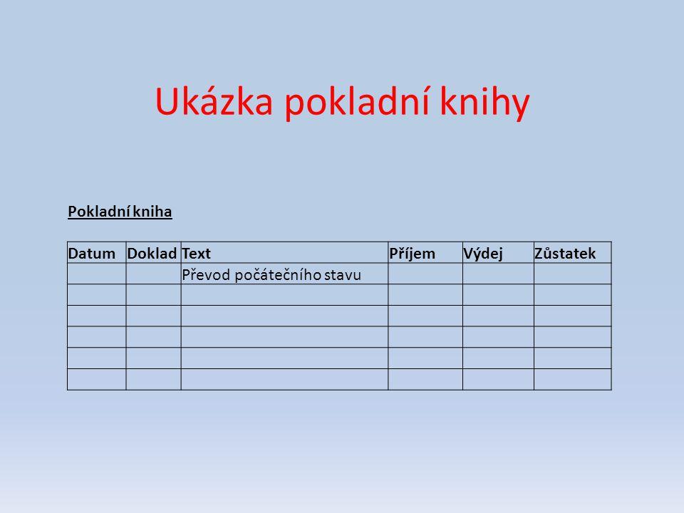 Ukázka pokladní knihy Pokladní kniha DatumDokladTextPříjemVýdejZůstatek Převod počátečního stavu