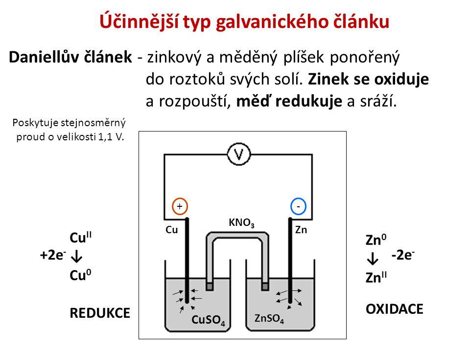 Účinnější typ galvanického článku Daniellův článek - zinkový a měděný plíšek ponořený do roztoků svých solí. Zinek se oxiduje a rozpouští, měď redukuj
