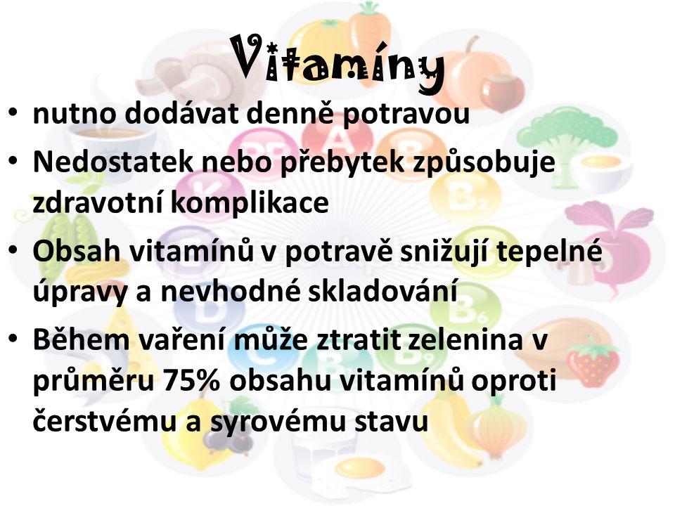 Vitamíny nutno dodávat denně potravou Nedostatek nebo přebytek způsobuje zdravotní komplikace Obsah vitamínů v potravě snižují tepelné úpravy a nevhod