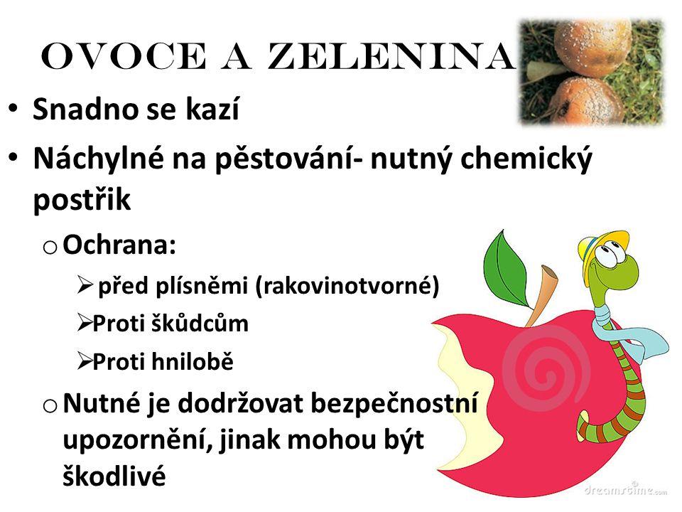 Ovoce a zelenina Snadno se kazí Náchylné na pěstování- nutný chemický postřik o Ochrana:  před plísněmi (rakovinotvorné)  Proti škůdcům  Proti hnil