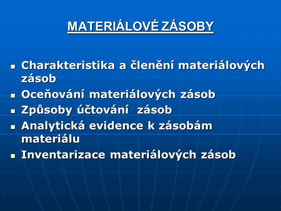 MATERIÁLOVÉ ZÁSOBY Charakteristika a členění materiálových zásob Charakteristika a členění materiálových zásob Oceňování materiálových zásob Oceňování
