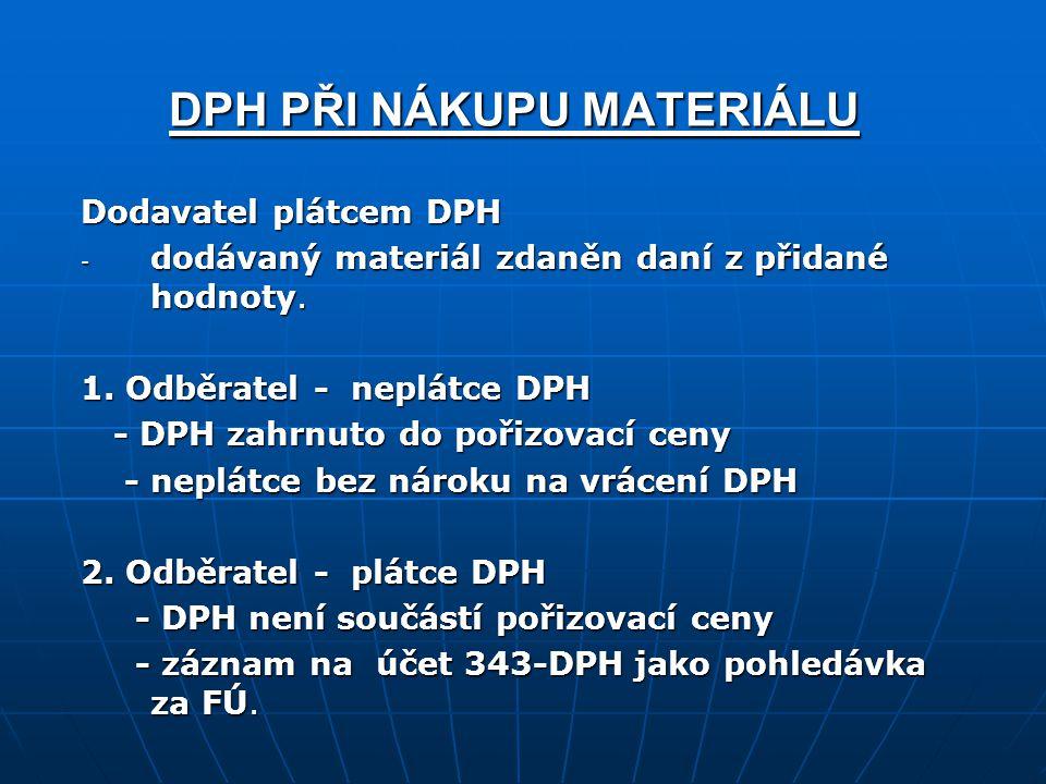 DPH PŘI NÁKUPU MATERIÁLU Dodavatel plátcem DPH - dodávaný materiál zdaněn daní z přidané hodnoty.