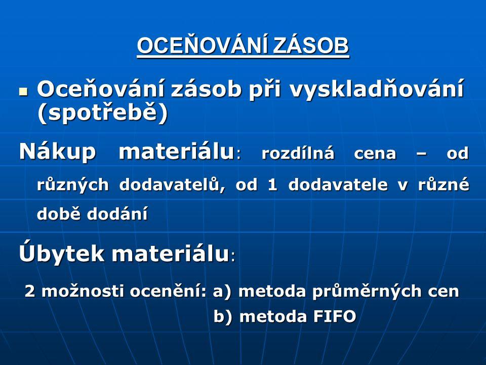OCEŇOVÁNÍ ZÁSOB Oceňování zásob při vyskladňování (spotřebě) Oceňování zásob při vyskladňování (spotřebě) Nákup materiálu : rozdílná cena – od různých dodavatelů, od 1 dodavatele v různé době dodání Úbytek materiálu : 2 možnosti ocenění: a) metoda průměrných cen 2 možnosti ocenění: a) metoda průměrných cen b) metoda FIFO b) metoda FIFO