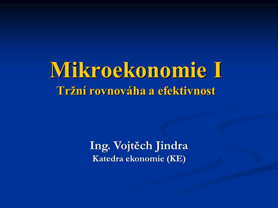 Mikroekonomie I Tržní rovnováha a efektivnost Ing. Vojtěch JindraIng. Vojtěch Jindra Katedra ekonomie (KE)Katedra ekonomie (KE)