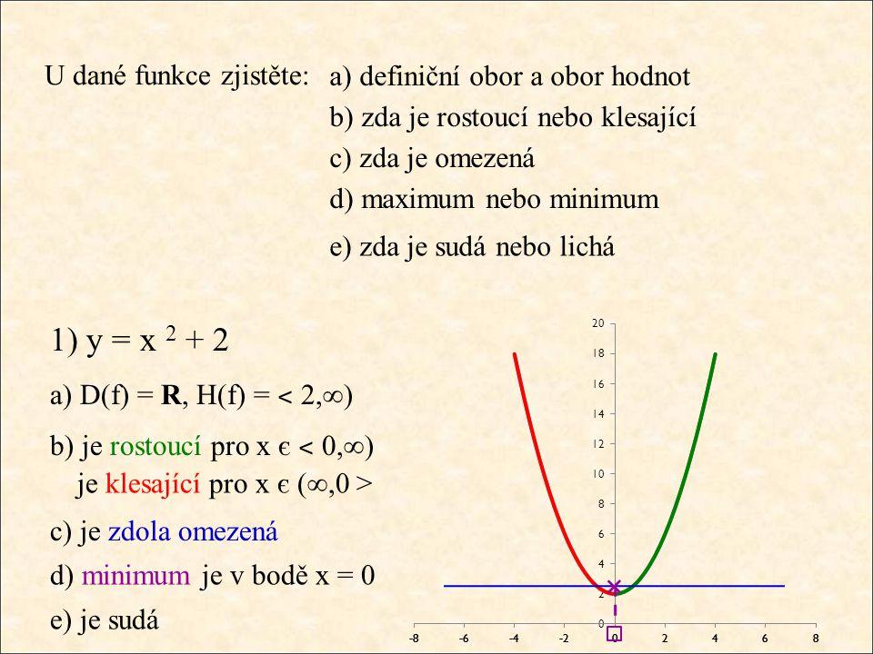 U dané funkce zjistěte: 1) y = x 2 + 2 a) D(f) = R, H(f) = ˂ 2,∞) b) je rostoucí pro x є ˂ 0,∞) a) definiční obor a obor hodnot b) zda je rostoucí neb