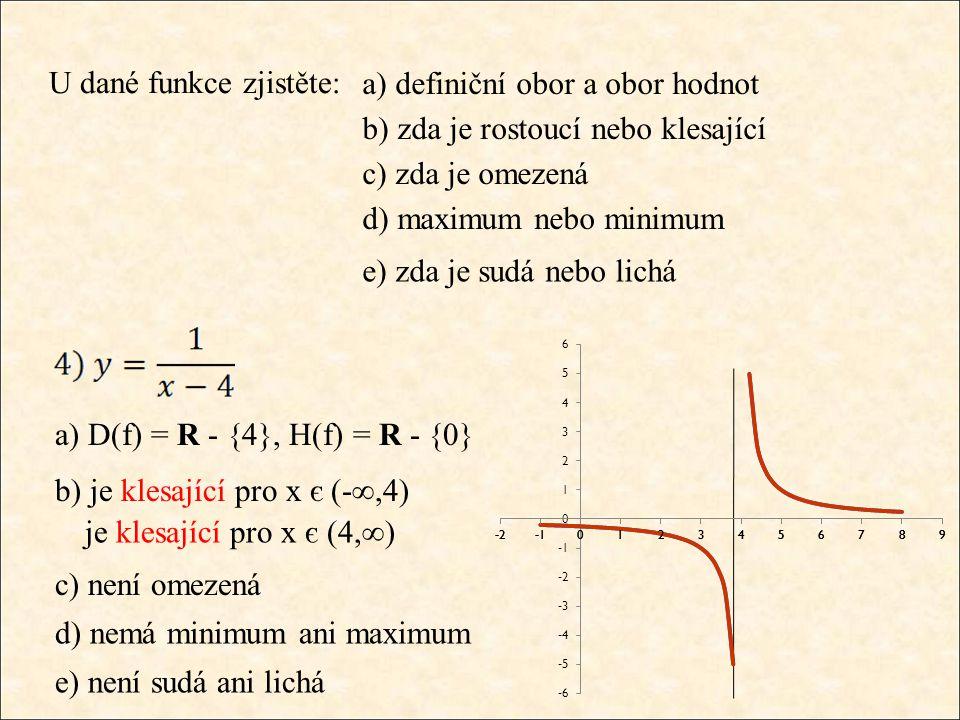 U dané funkce zjistěte: a) D(f) = R - {4}, H(f) = R - {0} b) je klesající pro x є (-∞,4) je klesající pro x є (4,∞) c) není omezená d) nemá minimum an