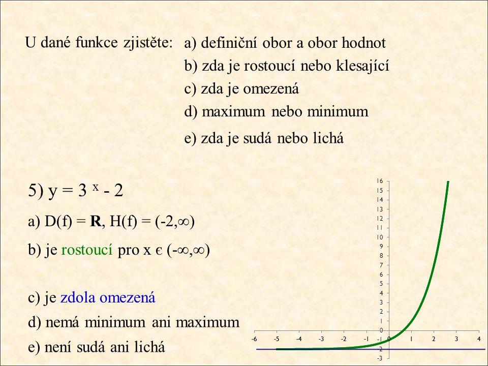 U dané funkce zjistěte: a) D(f) = R, H(f) = (-2,∞) b) je rostoucí pro x є (-∞,∞) c) je zdola omezená d) nemá minimum ani maximum e) není sudá ani lich