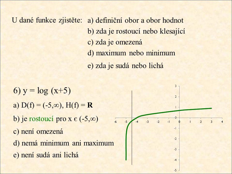 U dané funkce zjistěte: a) D(f) = (-5,∞), H(f) = R b) je rostoucí pro x є (-5,∞) c) není omezená d) nemá minimum ani maximum e) není sudá ani lichá 6)