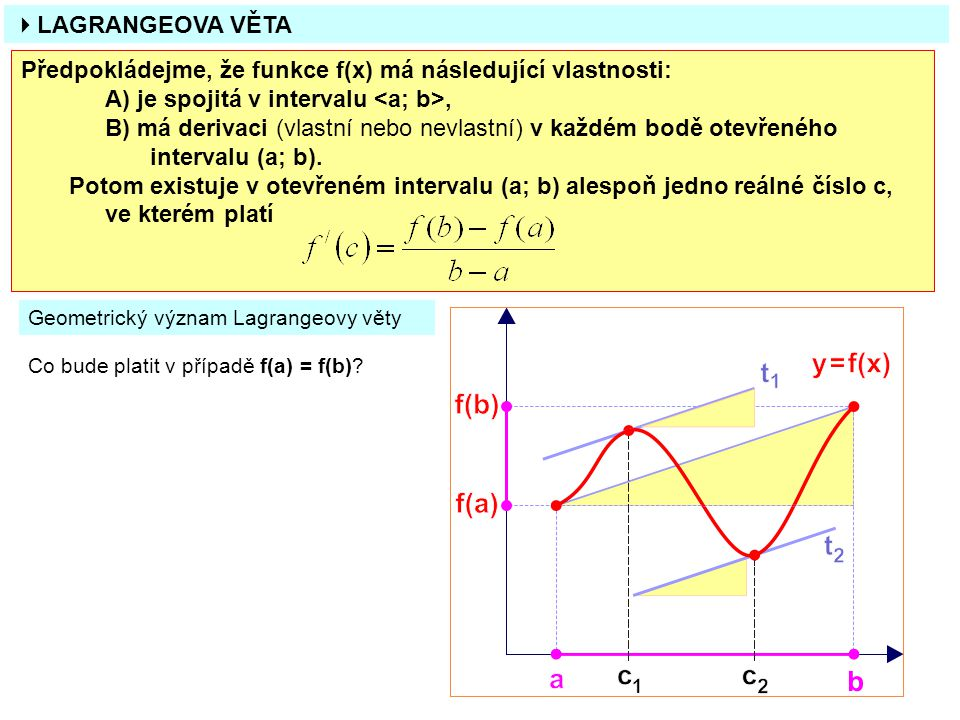  LAGRANGEOVA VĚTA Předpokládejme, že funkce f(x) má následující vlastnosti: A) je spojitá v intervalu, B) má derivaci (vlastní nebo nevlastní) v každém bodě otevřeného intervalu (a; b).