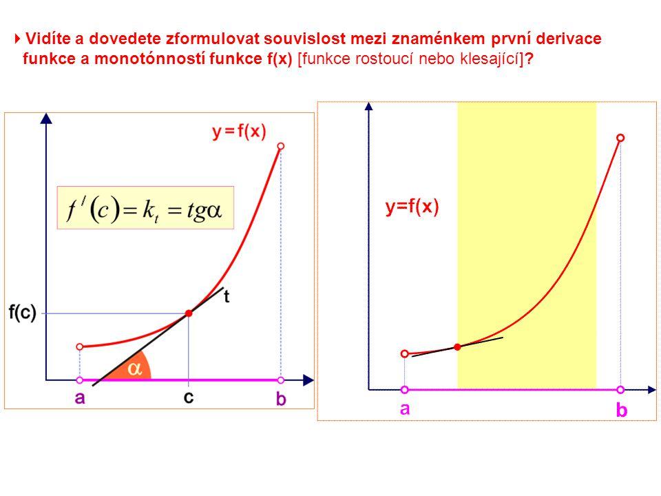  Vidíte a dovedete zformulovat souvislost mezi znaménkem první derivace funkce a monotónností funkce f(x) [funkce rostoucí nebo klesající]?
