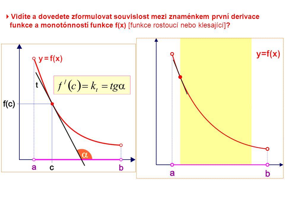 Věta: Jestliže pro každé x  (a; b) platí f / (x) > 0, potom je funkce f(x) rostoucí v intervalu (a; b).