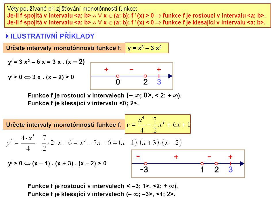  ILUSTRATIVNÍ PŘÍKLADY Určete intervaly monotónnosti funkce f: y / > 0  (x – 1).