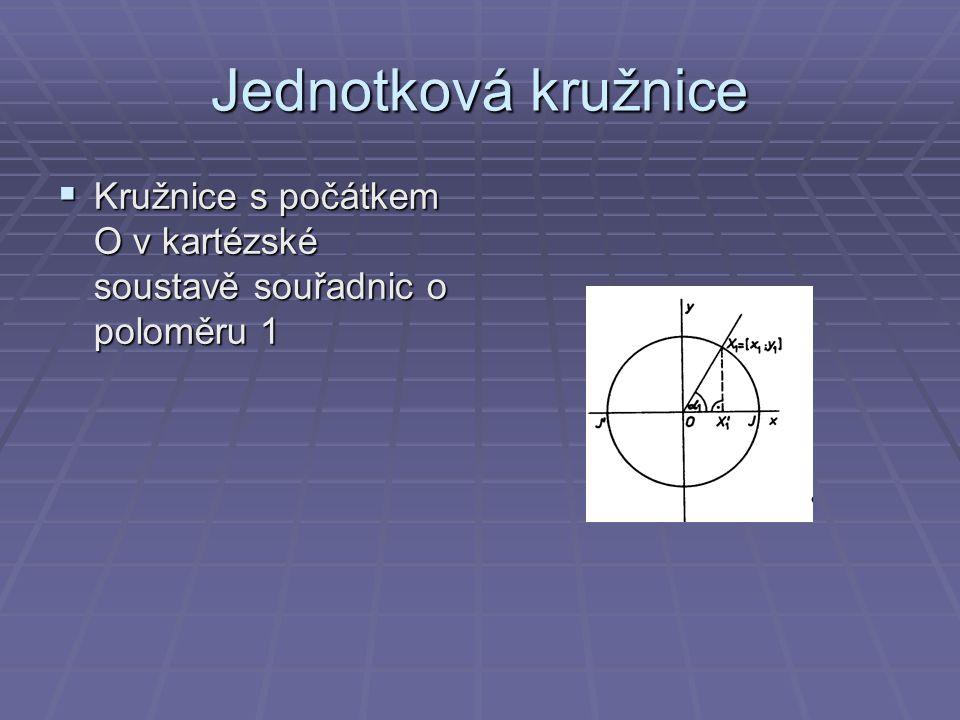 Jednotková kružnice  Kružnice s počátkem O v kartézské soustavě souřadnic o poloměru 1