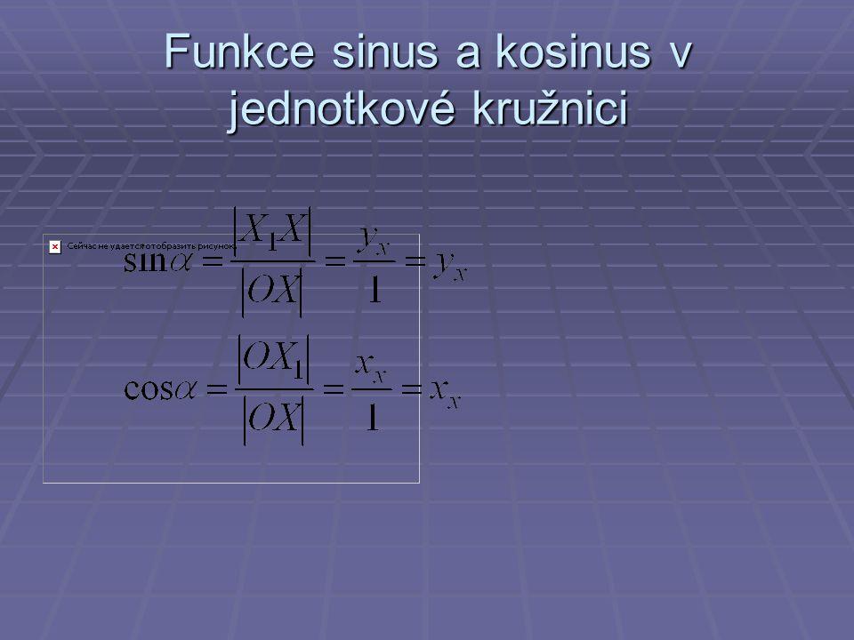 Znaménka goniometrických funkcí v jednotlivých kvadrantech jednotkové kružnice  Souřadnice bodu X [cos  ; sin  ]  I.