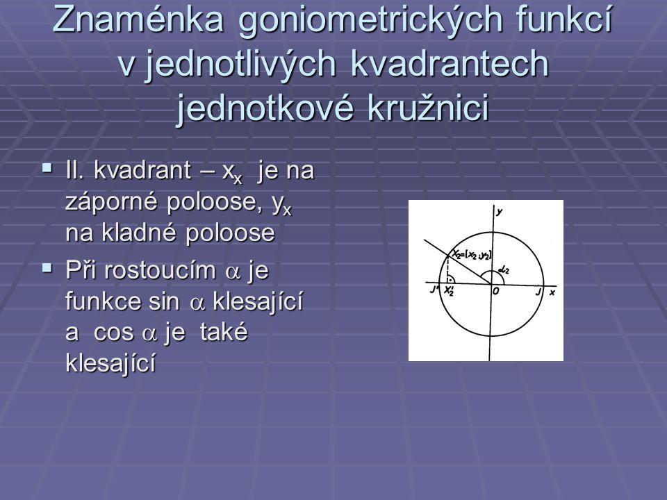 Znaménka goniometrických funkcí v jednotlivých kvadrantech jednotkové kružnici  II. kvadrant – x x je na záporné poloose, y x na kladné poloose  Při