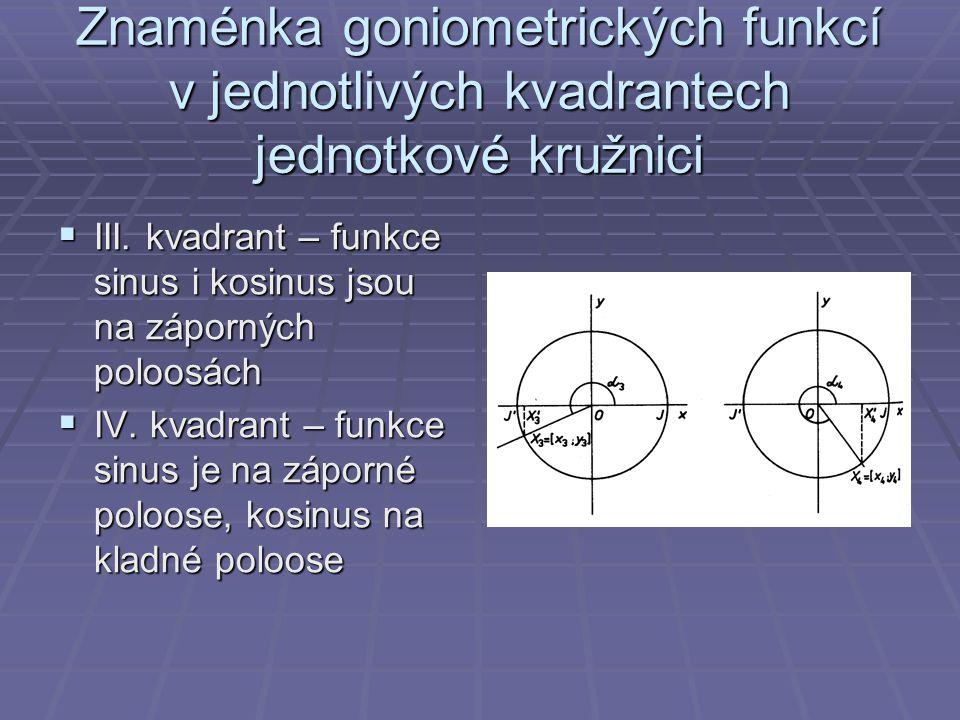 Znaménka goniometrických funkcí v jednotlivých kvadrantech jednotkové kružnici  III. kvadrant – funkce sinus i kosinus jsou na záporných poloosách 
