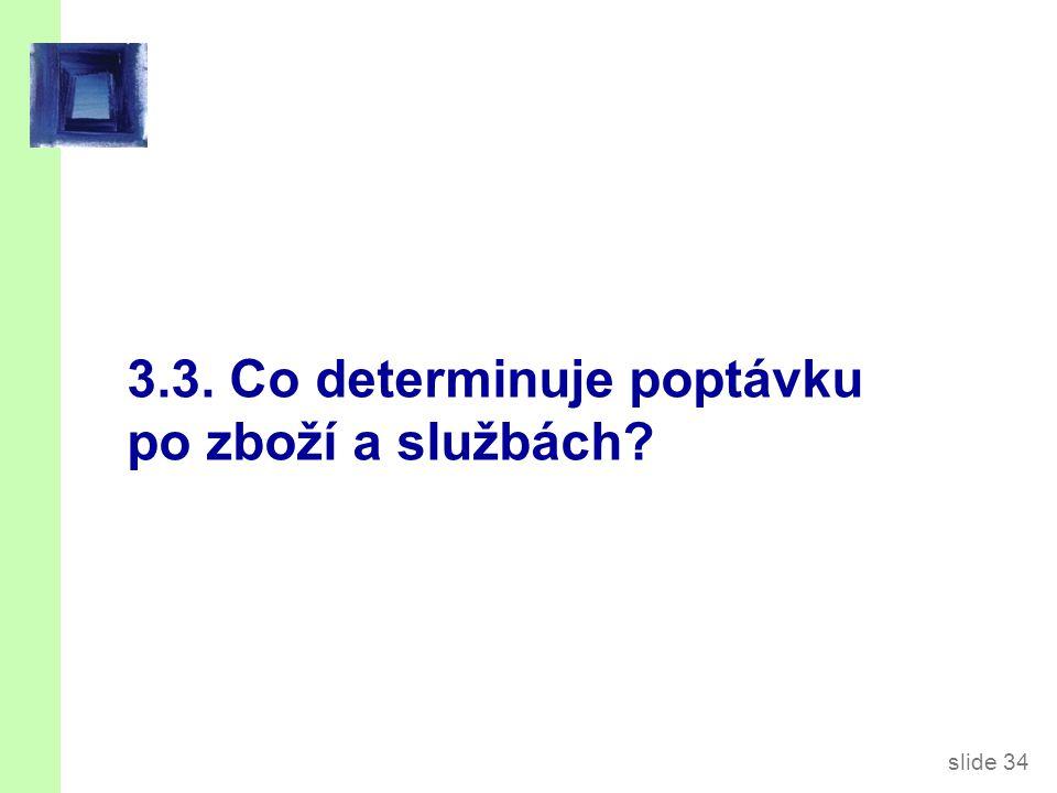 slide 34 3.3. Co determinuje poptávku po zboží a službách?