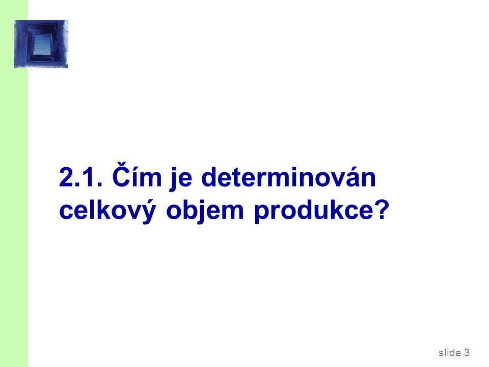 slide 3 2.1. Čím je determinován celkový objem produkce?
