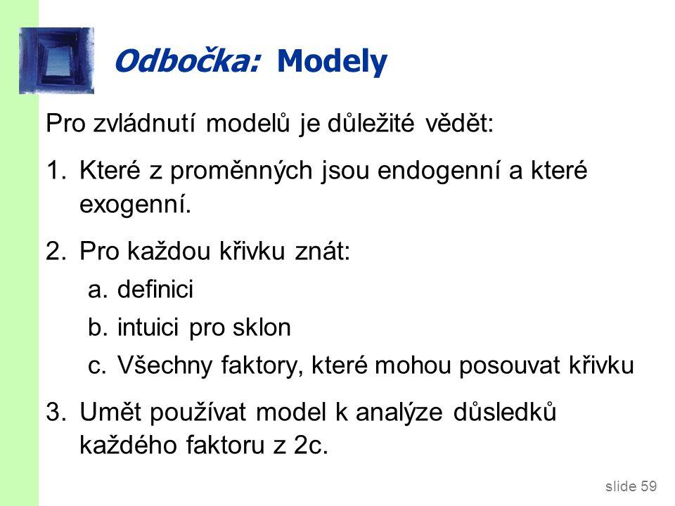 slide 59 Odbočka: Modely Pro zvládnutí modelů je důležité vědět: 1.Které z proměnných jsou endogenní a které exogenní. 2.Pro každou křivku znát: a.def