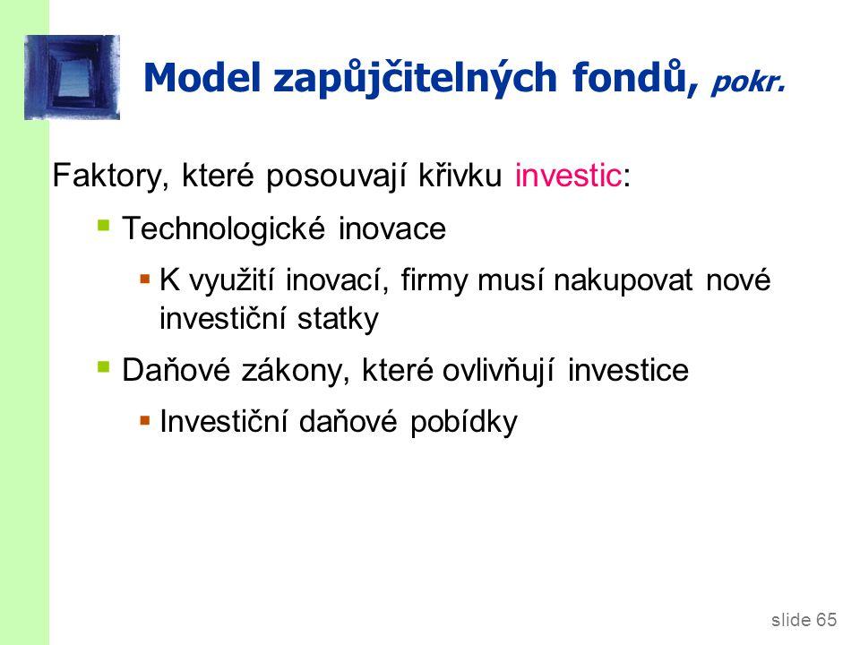 slide 65 Model zapůjčitelných fondů, pokr. Faktory, které posouvají křivku investic:  Technologické inovace  K využití inovací, firmy musí nakupovat