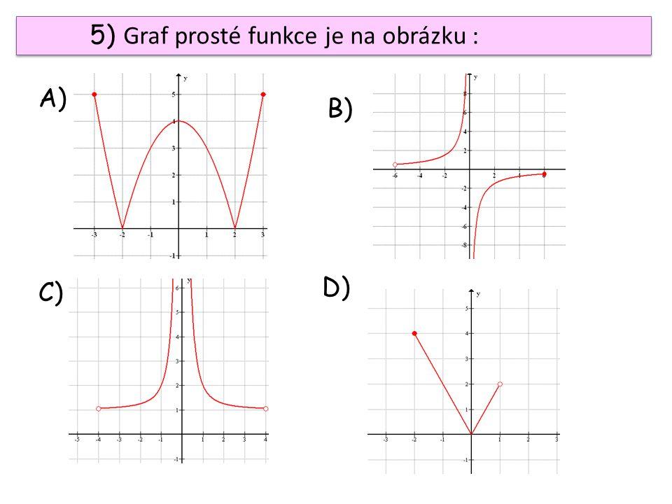 5) Graf prosté funkce je na obrázku : A) B) C) D)
