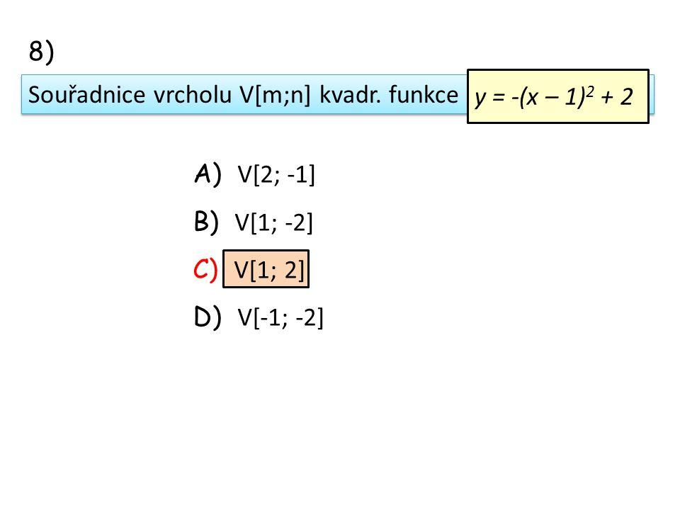 Souřadnice vrcholu V[m;n] kvadr.