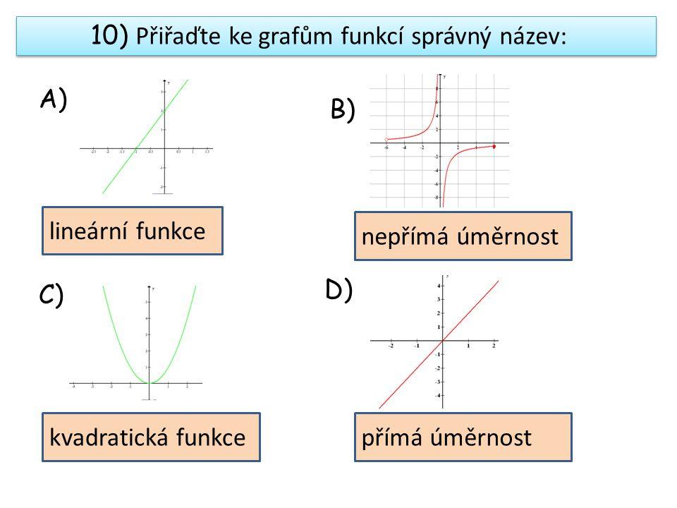 10) Přiřaďte ke grafům funkcí správný název: A) B) C) D) lineární funkce nepřímá úměrnost kvadratická funkcepřímá úměrnost