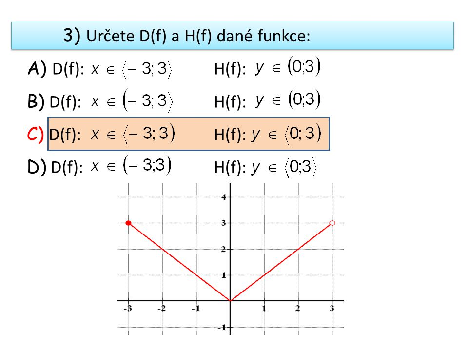 3) Určete D(f) a H(f) dané funkce: A) D(f): H(f): B) D(f): H(f): C) D(f): H(f): D) D(f): H(f):
