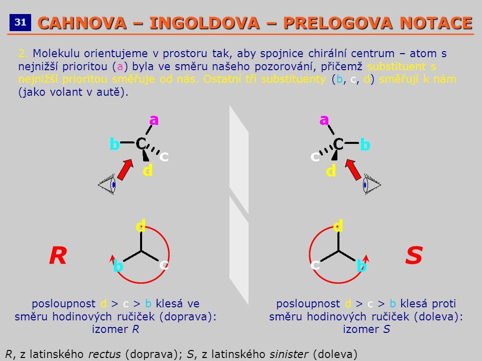 2. Molekulu orientujeme v prostoru tak, aby spojnice chirální centrum – atom s nejnižší prioritou (a) byla ve směru našeho pozorování, přičemž substit