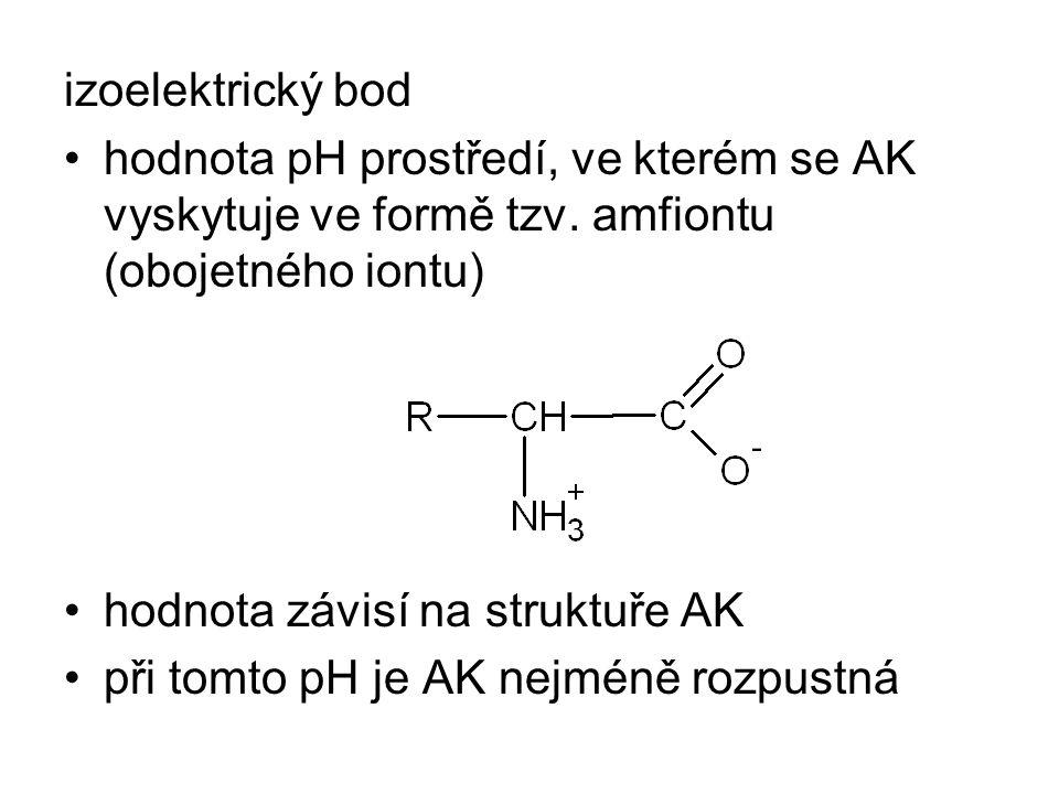 izoelektrický bod hodnota pH prostředí, ve kterém se AK vyskytuje ve formě tzv. amfiontu (obojetného iontu) hodnota závisí na struktuře AK při tomto p