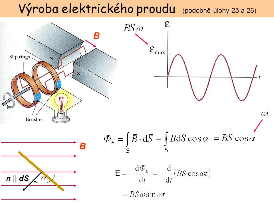 B n || dS B Výroba elektrického proudu (podobně úlohy 25 a 26)