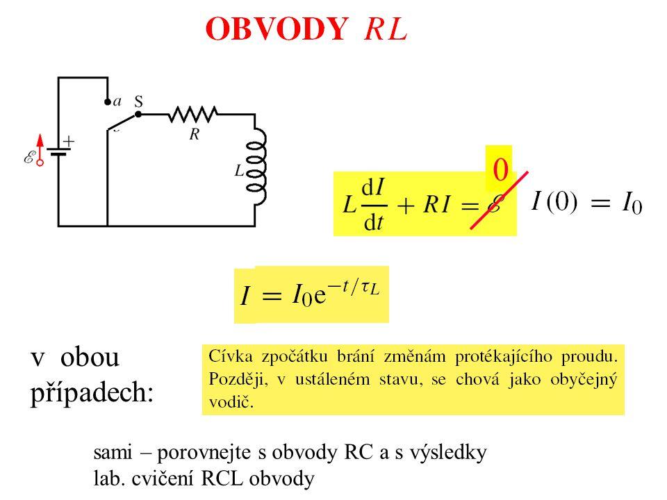 0 sami – porovnejte s obvody RC a s výsledky lab. cvičení RCL obvody v obou případech: