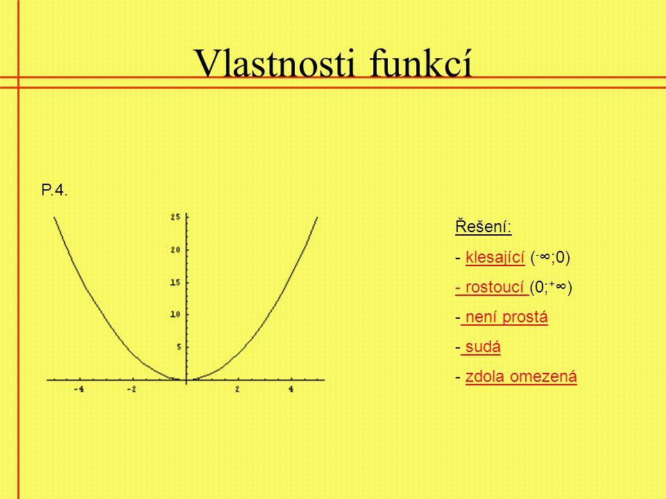 Vlastnosti funkcí P.4. Řešení: - klesající ( - ∞;0)klesající - rostoucí - rostoucí (0; + ∞) - není prostá není prostá - sudá sudá - zdola omezenázdola