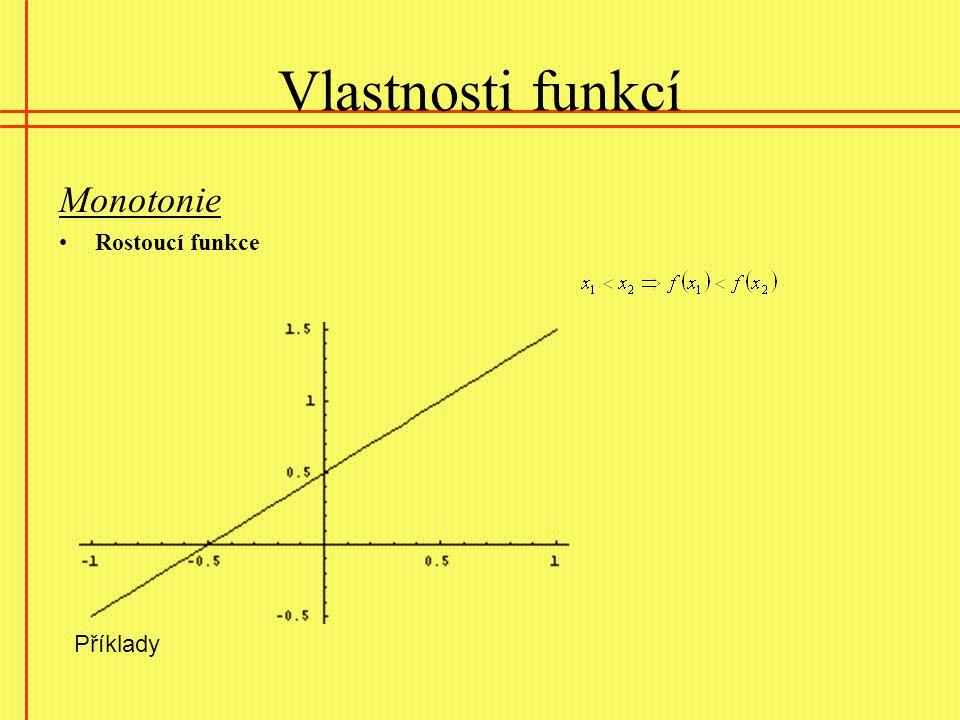 Vlastnosti funkcí Monotonie Rostoucí funkce Příklady