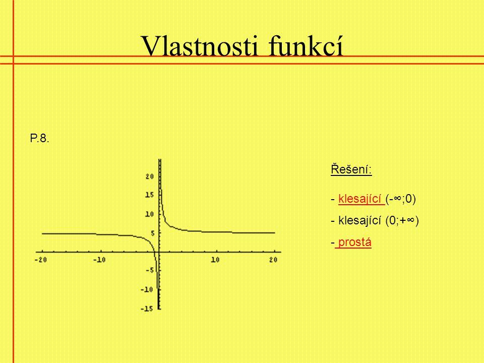 Vlastnosti funkcí P.8. Řešení: - klesající (-∞;0)klesající - klesající (0;+∞) - prostá prostá