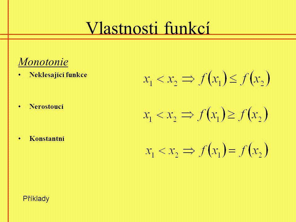 Vlastnosti funkcí Monotonie Neklesající funkce Nerostoucí Konstantní Příklady