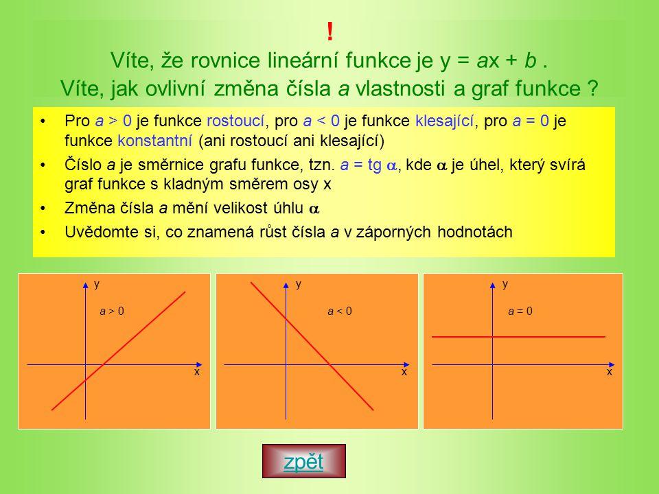 Víte, že rovnice lineární funkce je y = ax + b.