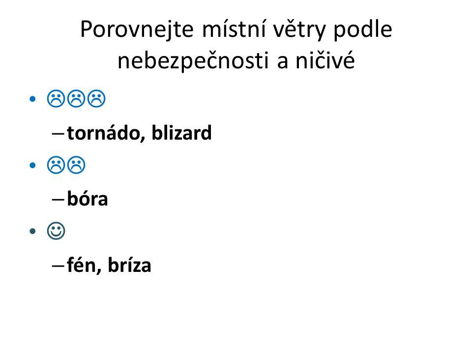 Porovnejte místní větry podle nebezpečnosti a ničivé  – tornádo, blizard  – bóra – fén, bríza