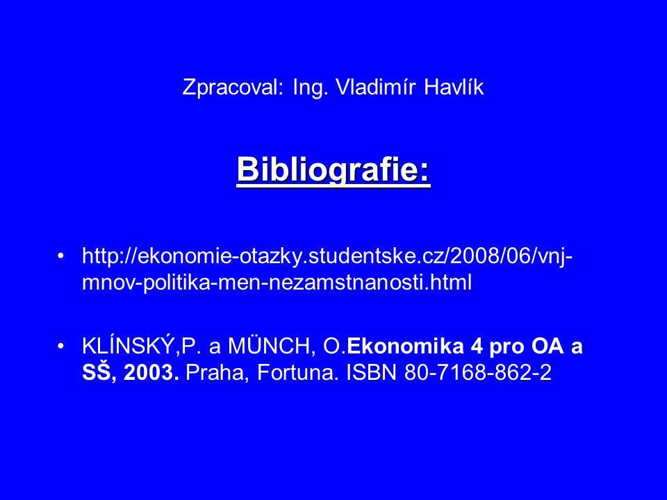 Zpracoval: Ing. Vladimír Havlík Bibliografie: http://ekonomie-otazky.studentske.cz/2008/06/vnj- mnov-politika-men-nezamstnanosti.html KLÍNSKÝ,P. a MÜN