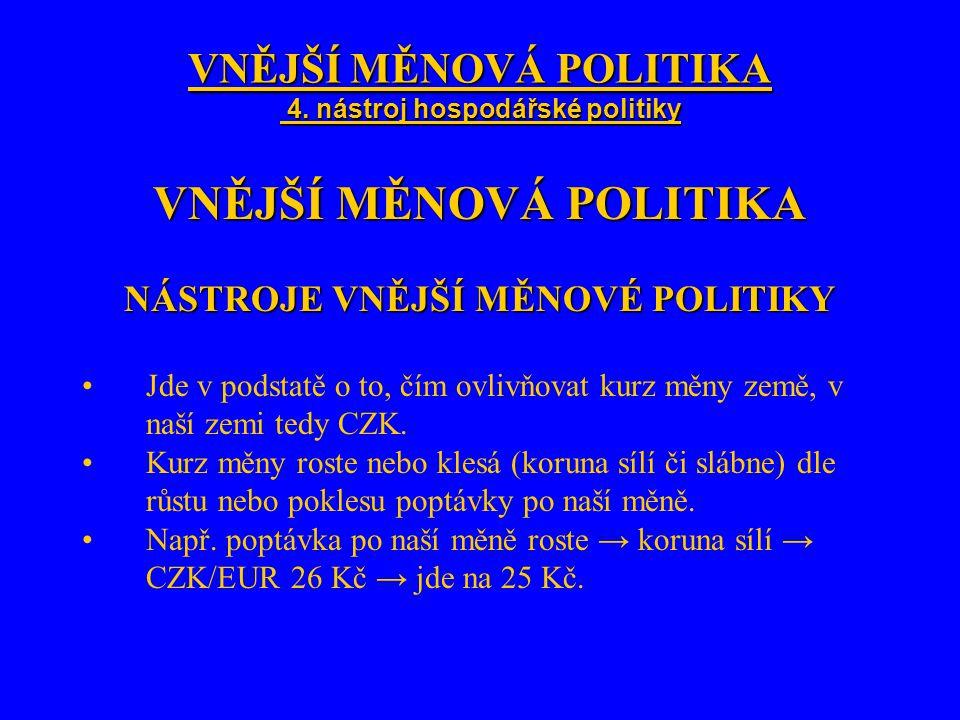 VNĚJŠÍ MĚNOVÁ POLITIKA 4. nástroj hospodářské politiky VNĚJŠÍ MĚNOVÁ POLITIKA NÁSTROJE VNĚJŠÍ MĚNOVÉ POLITIKY Jde v podstatě o to, čím ovlivňovat kurz